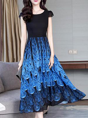 Round Neck Print Maxi Dress, 6494375