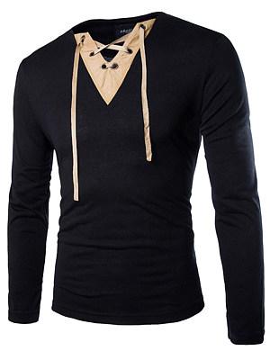 Lace-Up Split Neck Contrast Trim Men T-Shirt