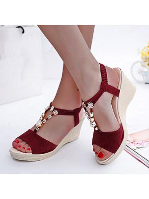 Plain High Heeled Velvet Ankle Strap Peep Toe Date Office Wedge Sandals