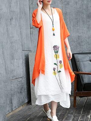 Round Neck Print Maxi Dress, 7177908