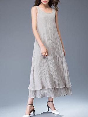 Round Neck Asymmetric Hem Patch Pocket Plain Maxi Dress, 7173264
