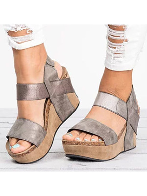 Plain High Heeled Ankle Strap Peep Toe Casual Wedge Sandals, 4670329