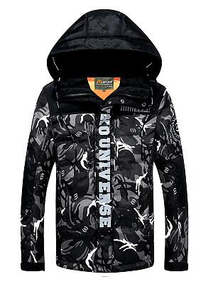 Hooded Camouflage Letters Pocket Men Coat, 3858852
