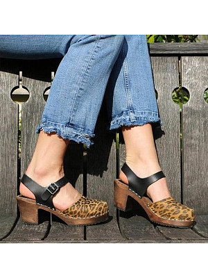 Animal Printed Chunky High Heeled Round Toe Date Travel Pumps, 7399590
