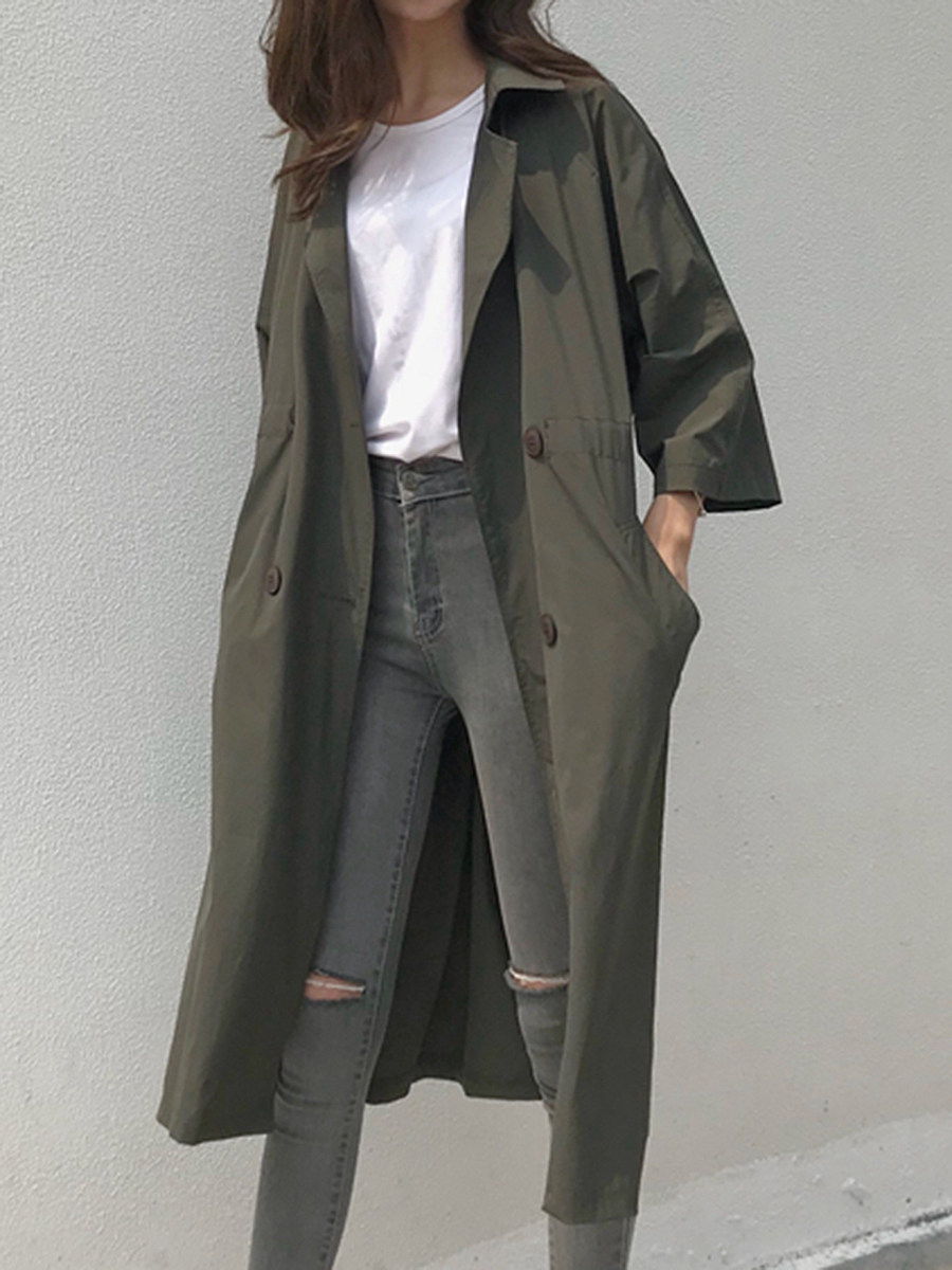 BerryLook Notch Lapel  Drawstring  Plain Trench Coat