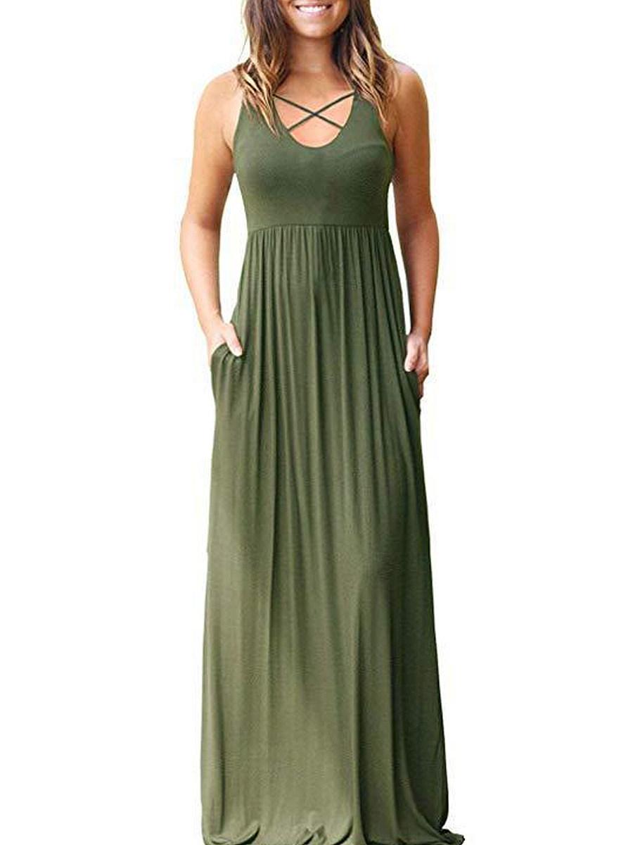 Patch Pocket  Plain Maxi Dress