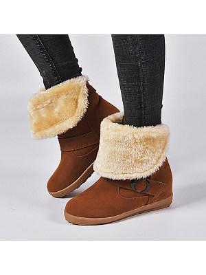 Plain Flat Round Toe Date Outdoor Mid Calf Flat Boots, 8534704