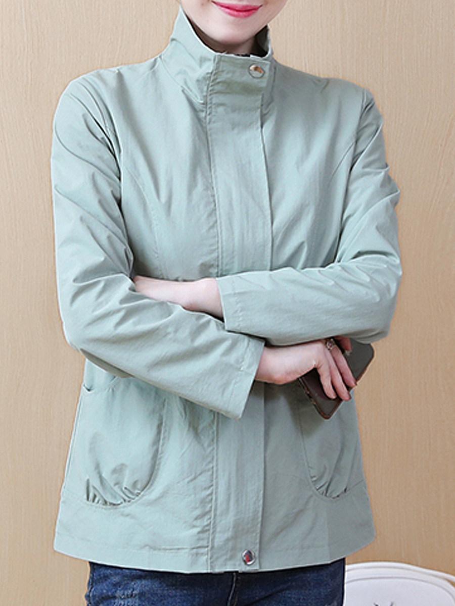 Band Collar  Slit Pocket Zips  Decorative Button  Plain  Long Sleeve Trench Coats