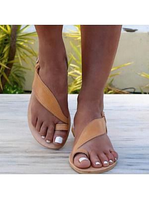 Plain Flat Peep Toe Casual Date Flat Sandals, 6291256