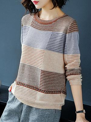 Round  Neck  Patchwork  Elegant  Color Block  Long Sleeve Knit Pullover