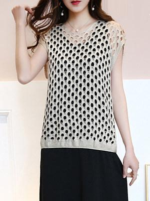 Round Neck Patchwork Elegant Plain Short Sleeve Knit Pullover, 8230488