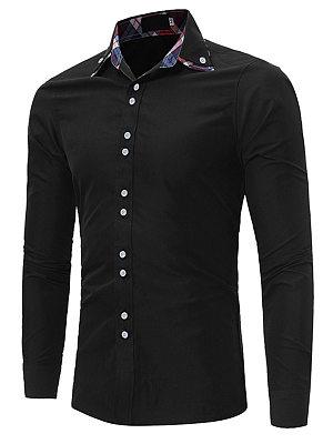 Turn Down Collar  Plaid Men Shirts
