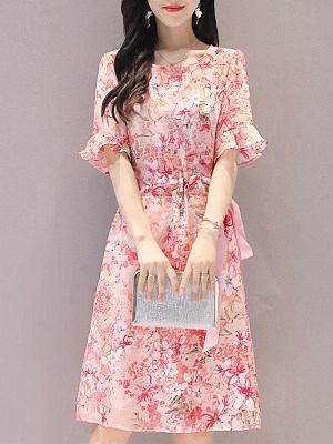 Round Neck Floral Printed Bell Sleeve Shift Dress фото