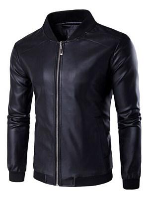 Band Collar  Pocket  Plain Men PU Leather Jacket