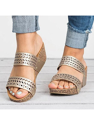 Berrylook Hollow Out High Heeled Peep Toe Casual Wedge Sandals shop, shoppers stop,
