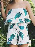 Image of Leaf Shape Off Shoulder Backless Brocade Women Jumpsuits