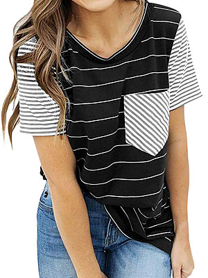 Round Neck Patchwork Striped Short Sleeve T-Shirts, 7118451