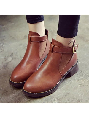 Plain Chunky High Heeled Round Toe Outdoor Ankle Boots фото