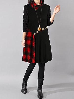 Cowl Neck Plaid Shift Dress, 9474230