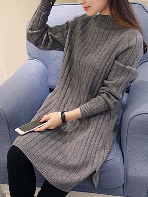 Band Collar Plain Knit Midi Shift Dress
