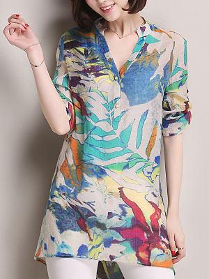 Spring Summer Linen Women V-Neck Decorative Button Floral Printed Three-Quarter Sleeve Blouses, 4293035