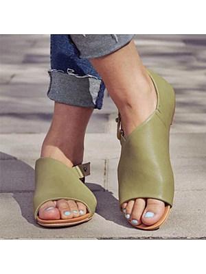 Plain Flat Peep Toe Casual Date Flat Sandals, 6506001