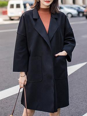 Notch Lapel Plain Shoulder Sleeve Coat, 8922397
