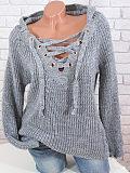 Image of Hat Collar Plain Crochet Long Sleeve Knit Pullover