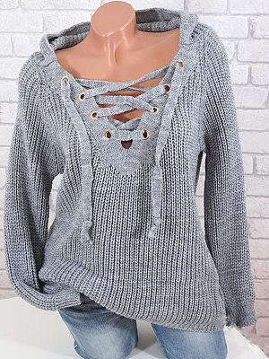 Hat Collar Plain Medium Brief Crochet Plain Long Sleeve Knit Pullover, 8205850