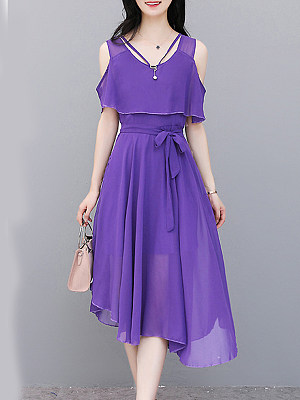 V Neck Asymmetric Hem Plain Raglan Sleeve Maxi Dress, 7159140