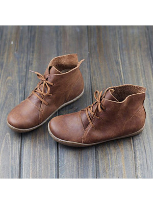 BERRYLOOK Plain Flat Round Toe Casual Outdoor Flat Boots