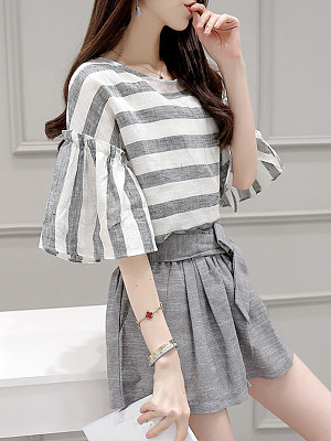 Round Neck Patchwork Striped Bell Sleeve Elegant Blouses And Bottoms Suits, 7200380