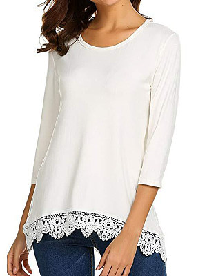 Round Neck Patchwork Brief Lace Plain Three-Quarter Sleeve T-Shirts, 8032105