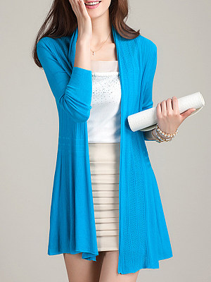Patchwork Elegant Plain Long Sleeve Knit Cardigan, 8631046