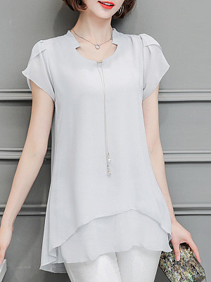 V Neck Patchwork Plain Blouses