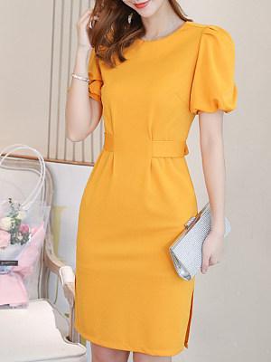 Round Neck Plain Lantern Sleeve Bodycon Dress, 6743425
