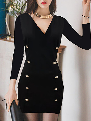V-Neck Double Breasted Plain Bodycon Dress, 8507381