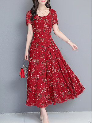 Round Neck  Floral Printed Maxi Dress material:cotton, sleeve:short sleeve, length:midi, dress_silhouette:fitted, occasion:basic*casual, season:summer, package_included:dress*1, how_to_wash:cold gentle machine wash, supplementary_matters:all dimensions are measured manually with a deviation of 2 to 4cm., bust:92,length:127,shoulder:38,