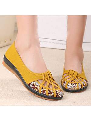 SOCOFY Floral Flat Round Toe Casual Date Comfort Flats фото