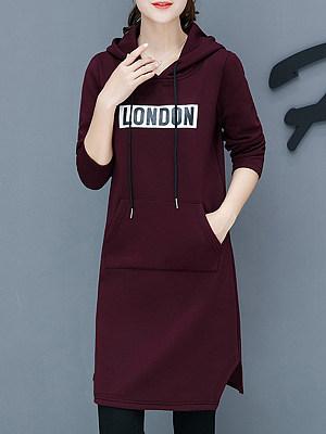 Hooded Asymmetric Hem Patch Pocket Letters Shift Dress, 8907561