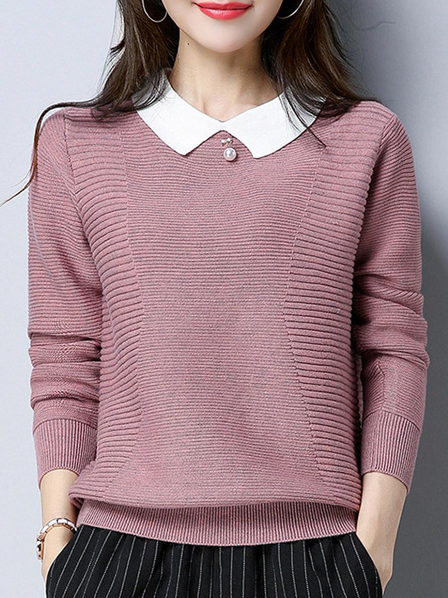 Lapel Patchwork Elegant Color Block Long Sleeve Knit Pullover