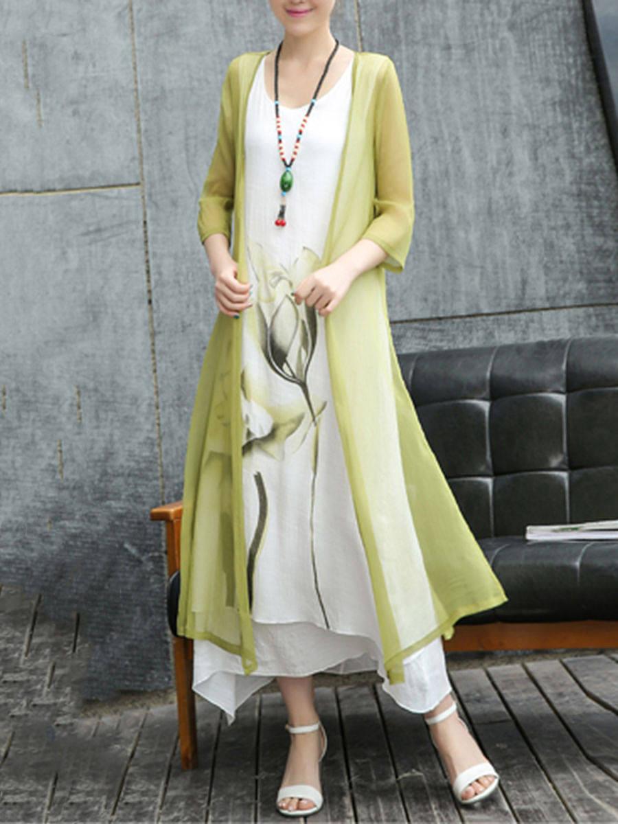 BerryLook Round Neck  Asymmetric Hem  Color Block Printed Maxi Dresses