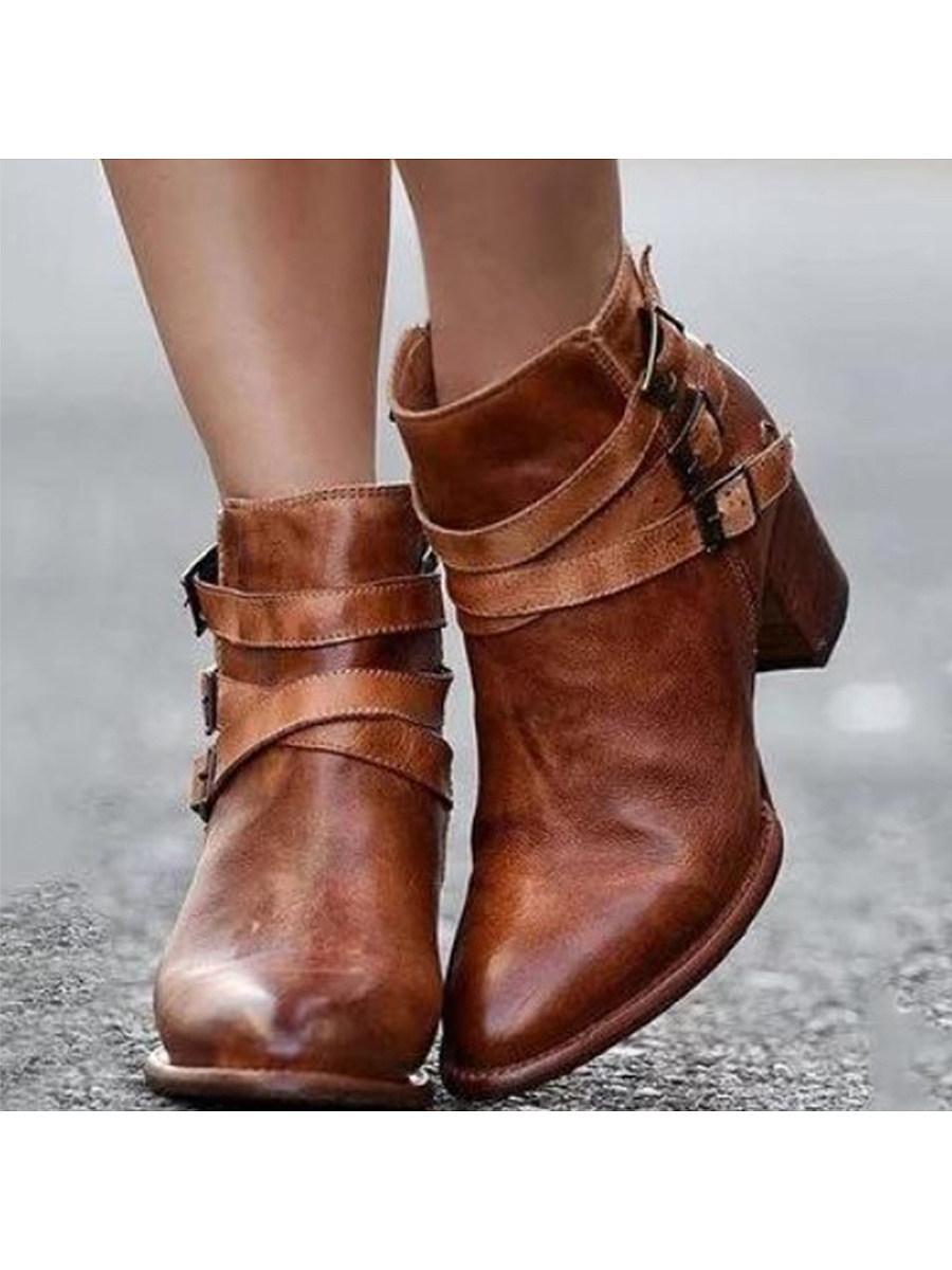 Plain  Chunky  High Heeled  Point Toe  Date Outdoor  Short High Heels Boots
