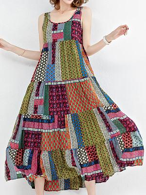Berrylook Round Neck Print Maxi Dress online shop, sale, Oversized Maxi Dresses, lace maxi dress, white maxi dress