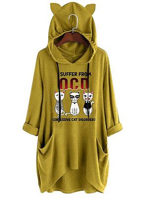 Casual Laced Cartoon Cat Knit Long Sleeve Hooded Sweatershirt, 8418736