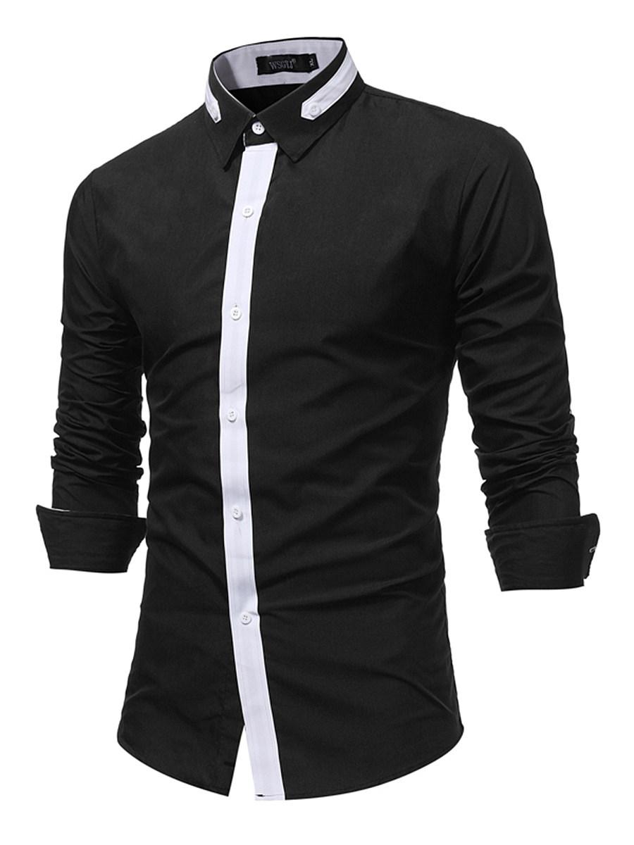 Trendy Long Sleeve Color Block Men Shirts