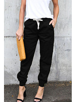 Slim Leg Belt Plain Pants фото