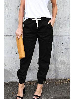 Slim Leg Belt Plain Pants фото