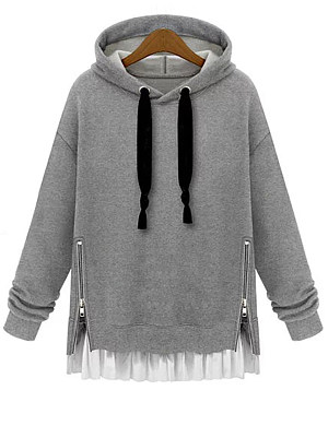 Hooded Drawstring Patchwork Zips Plain Long Sleeve Hoodies