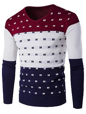 Men'S V-Neck Color Block Sweater фото